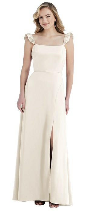 Ruffled Sleeve Tie-Back Maxi Dress