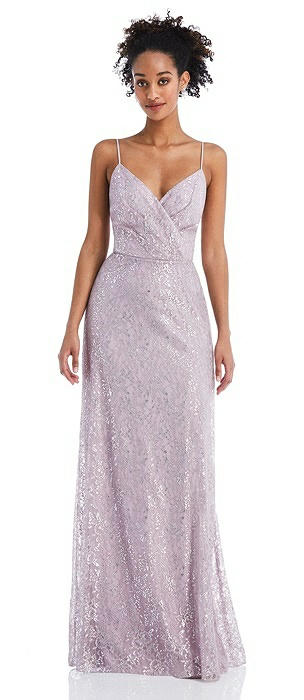 Draped Wrap Bodice Metallic Lace Maxi Dress