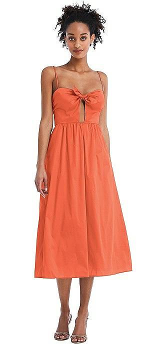 Bow-Tie Cutout Bodice Midi Dress with Pockets