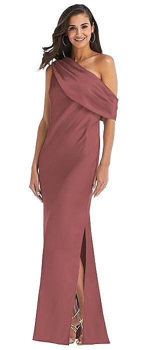 Draped One-Shoulder Convertible Maxi Slip Dress