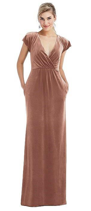 Flutter Sleeve Wrap Bodice Velvet Maxi Dress with Pockets