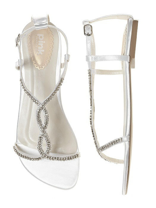 Satin & Crystal Dyeable Bridal Sandal