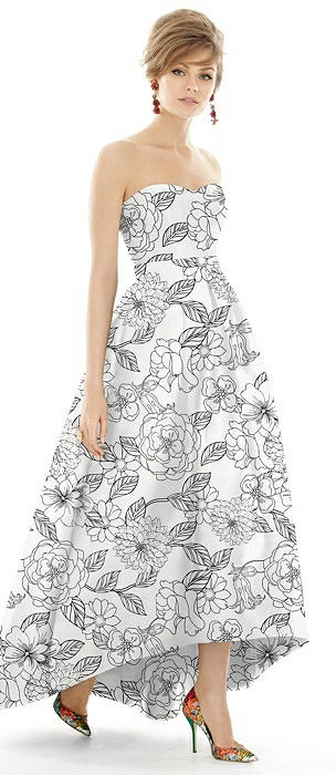Floral Strapless Satin High Low Dress with Pockets