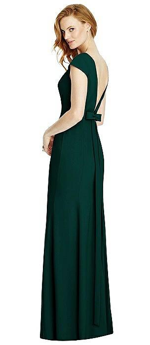 Bateau-Neck Cap Sleeve Open-Back Trumpet Gown