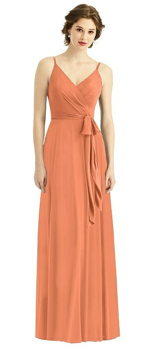 Draped Wrap Chiffon Maxi Dress with Sash