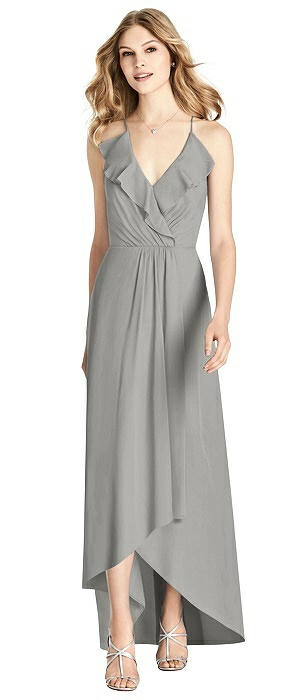Ruffled Wrap High-Low Maxi Dress
