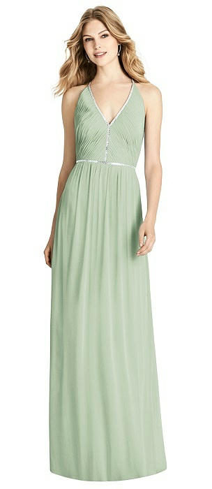 Jeweled-Trimmed Open-Back Shirred Maxi Dress