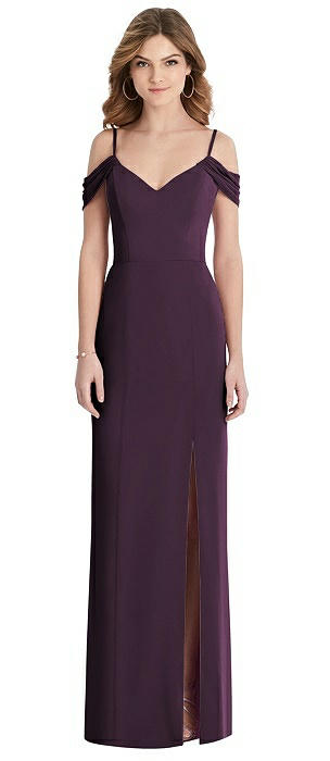 Off-the-Shoulder Chiffon Trumpet Gown with Front Slit