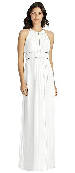 Keyhole Jewel-Trimmed Waist Halter Dress