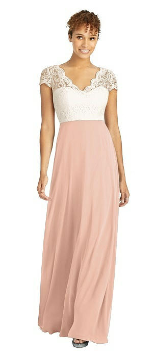 Cap Sleeve Illusion-Back Lace and Chiffon Dress