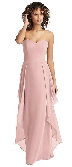 Strapless Chiffon Dress with Skirt Overlay