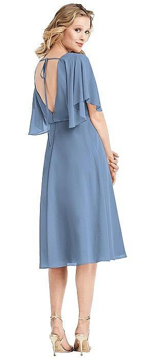 Flutter Sleeve Open-Back Cocktail Dress