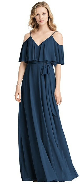Ruffled Cold-Shoulder Maxi Dress with Flounce Overlay