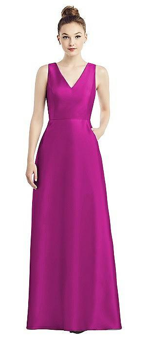 Sleeveless V-Neck Satin Dress with Pockets