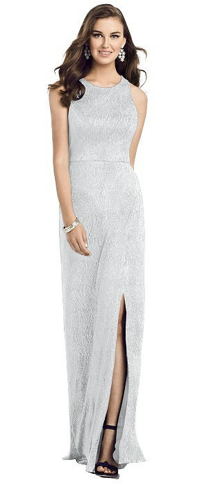 Sleeveless Scoop Neck Metallic Trumpet Gown