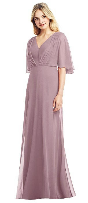 Long Flutter Sleeve Chiffon Dress with Pleat Detail