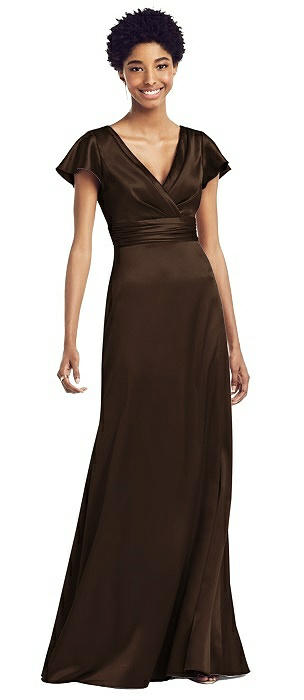 Flutter Sleeve Draped Wrap Stretch Maxi Dress