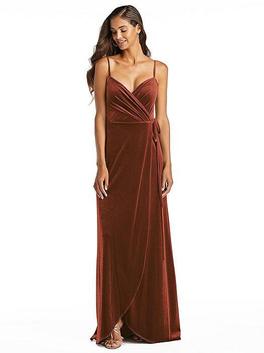 Velvet Wrap Maxi Dress with Pockets