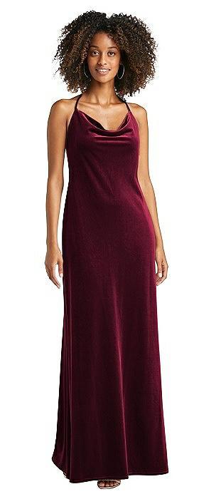Cowl-Neck Convertible Velvet Maxi Slip Dress - Sloan