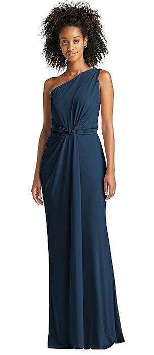 One-Shoulder Draped Trumpet Maxi Dress