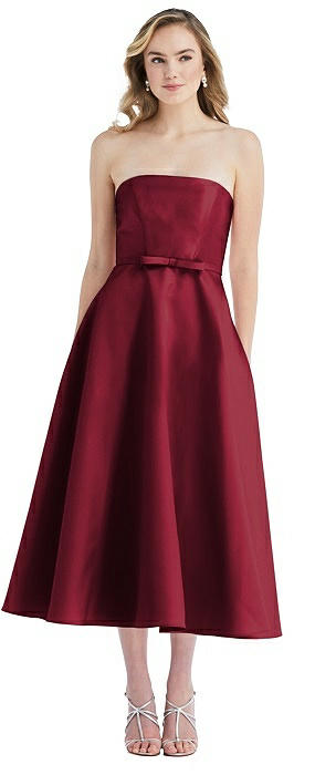 Strapless Bow-Waist Full Skirt Satin Midi Dress