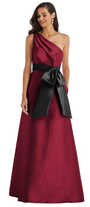 One-Shoulder Bow-Waist Maxi Dress with Pockets