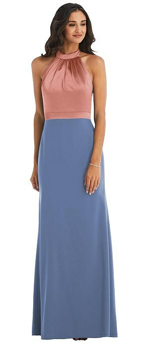 High-Neck Open-Back Maxi Dress with Scarf Tie