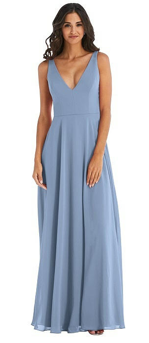 Deep V-Neck Chiffon Maxi Dress