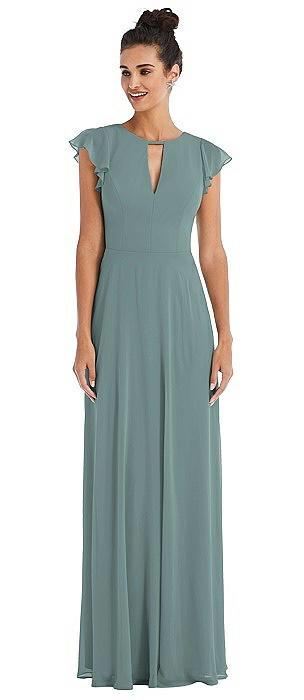 Flutter Sleeve V-Keyhole Chiffon Maxi Dress