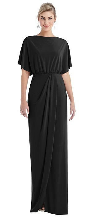 Open-Back Three-Quarter Sleeve Draped Tulip Skirt Maxi Dress