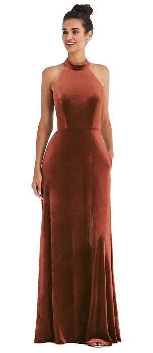 High-Neck Halter Velvet Maxi Dress with Front Slit