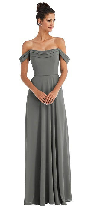 Off-the-Shoulder Draped Neckline Maxi Dress