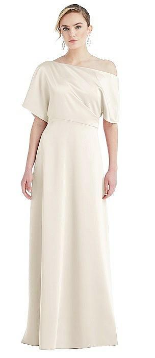 One-Shoulder Sleeved Blouson Trumpet Gown