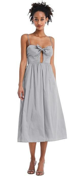 Bow-Tie Cutout Bodice Midi Dress with Pockets