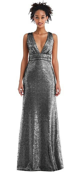 Open-Neck Criss Cross Back Sequin Maxi Dress