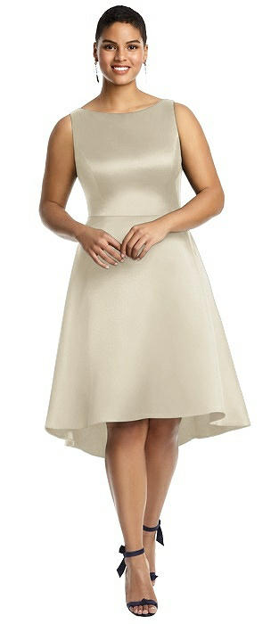 Bateau Neck Satin High Low Cocktail Dress