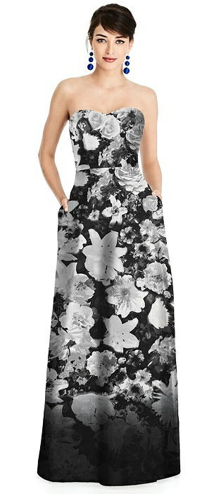 Floral Strapless A-Line Satin Dress with Pockets