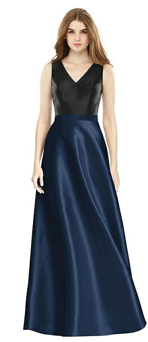 Sleeveless A-Line Satin Dress with Pockets