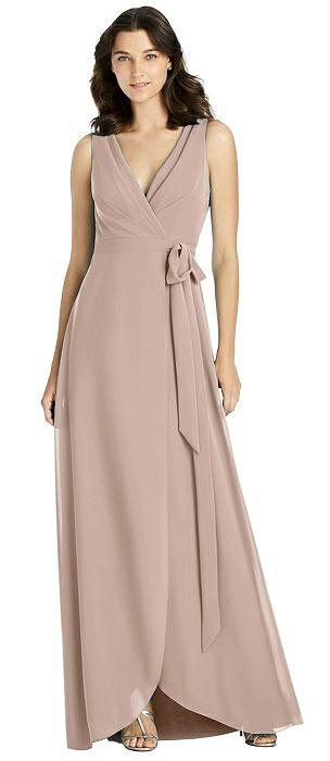 Sleeveless Tulip Skirt Wrap Maxi Dress with Sash