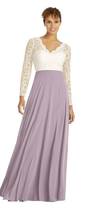Long Sleeve Illusion-Back Lace and Chiffon Dress
