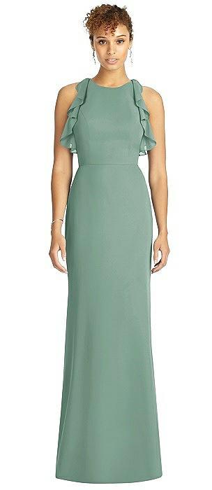 Ruffled Sleeveless Open-Back Mermaid Dress
