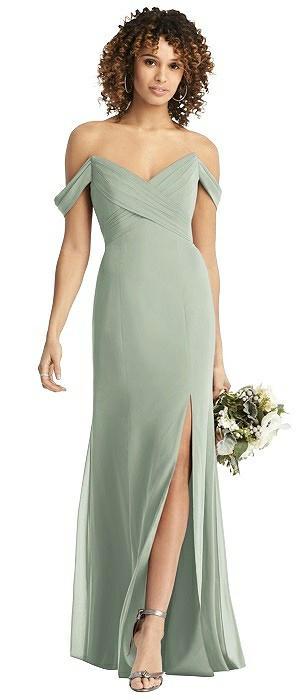 Off-the-Shoulder Criss Cross Bodice Trumpet Gown