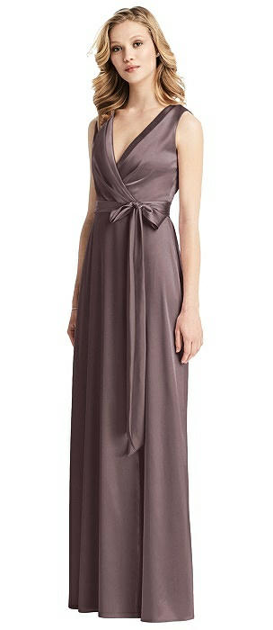 Sleeveless Stretch Wrap Dress with Sash