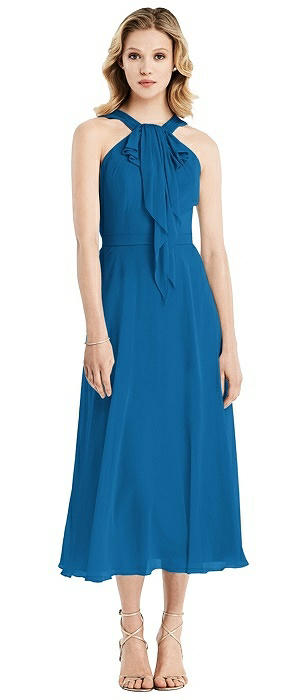 Ruffle Halter Chiffon Midi Dress