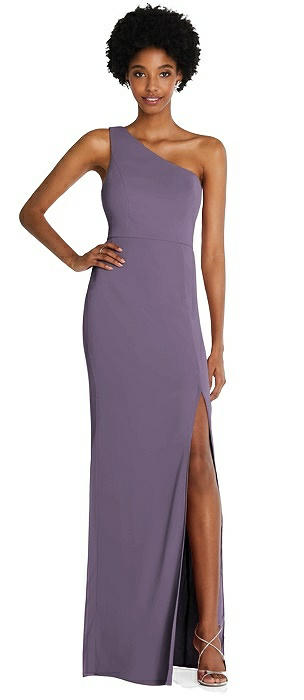 One-Shoulder Chiffon Trumpet Gown