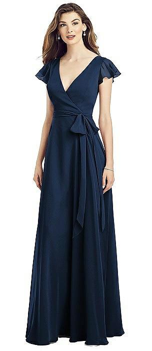 Flutter Sleeve Faux Wrap Chiffon Dress