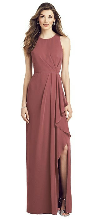 Sleeveless Chiffon Dress with Draped Front Slit