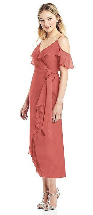 Cold-Shoulder Ruffled Wrap Dress