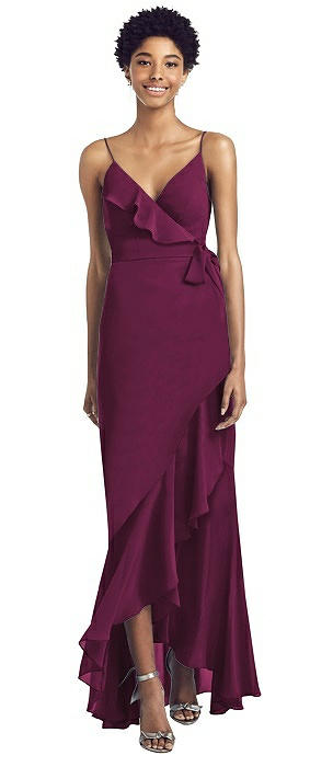 Ruffled High Low Faux Wrap Dress with Spaghetti Straps