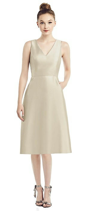 Sleeveless V-Neck Satin Midi Dress with Pockets